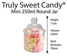 250ml Round Plastic Sweet Jars Favour/Wedding party Candy Cart Party-YOU CHOOSE
