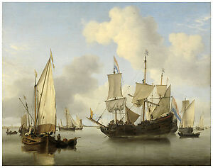 "Maritime ""Ships at Anchor on the Coast"" Willem van de Velde ca. 1660"