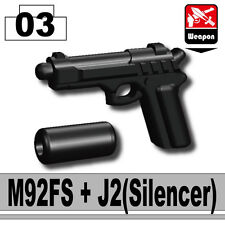 M9 (W143) Pistol w/Silencer (Black) compatible w/toy brick minifig Army Police