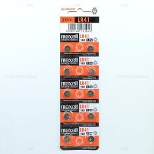 10 Authentic MAXELL LR41 AG3 392A 192 SR41 LR736 L736 RW87 CX41 392 BATTERY