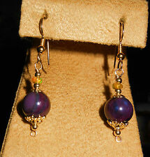 14K GF NATURAL PURPLE SUGILITE 10MM & ETHIOPIAN OPAL 4MM EARRINGS NEW DESIGN