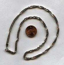 "Lovely Vintage Italy Silver 925 Twist Chain Necklace 16"" Long"