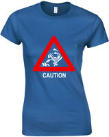 Caution Sharknado Ladies Printed T Shirt Fitted Women Casual Tee All Sizes