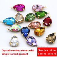 15 Teardrop color Framed Glass Pendant Bead Necklace Earring Findings Connectors