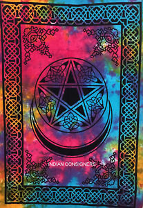 Star Moon Design Small Poster Wall Hanging Cotton Fabric Tapestry Multi Color