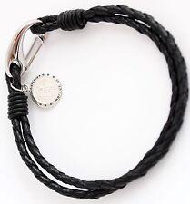 Boys Black Leather Sterling Silver Saint Christopher Bracelet Engraved Free