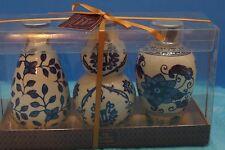 The Bombay Set of 3 Floral Ceramic Blue & White Vases, New