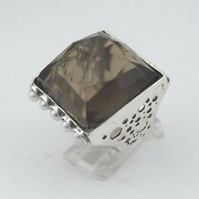 Striking Large Square Smokey Topaz Sterling Silver and Pearl Ring Size 7 (1334)