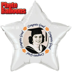 Graduation ORANGE PHOTO BALLOON Custom Printed Party Supplies FREE SHIPPING