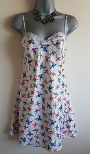 Size 8 Night Dress White Neon Pink Green Bird Print Summer Cami Nightie Women's