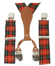 Nice Plaid Suspenders, Navy & Red