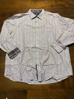 Nat Nast Long Sleeve Button Front American Fit Shirt Size XL Fit Cuff Purple Men