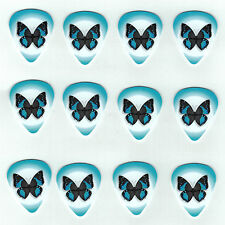 12 Pack BUTTERFLY BLUE WINGS KIDS GIRLS Medium Gauge 351 Guitar Picks Plectrum