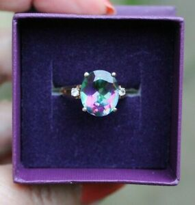 QVC 9CT YELLOW GOLD LARGE MYSTIC TOPAZ STONE RING. SIZE N.