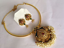Fsahion temple jewelry gold tone peacock design necklace set and earring