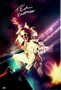 "TARON EGERTON Signed Auto ""ROCKET MAN"" Movie 20x30 Photo Beckett BAS Witness"