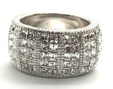 Sterling Silver Princess Cut CZ Cluster Eternity Band Wide Chunky Cocktail Ring