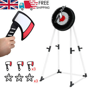 Foam Axe Throwing Target Set 3 Throwing Axes and Bristle Target w/Target Stand