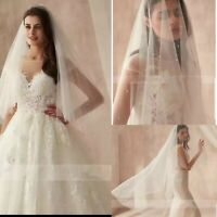 UK White Ivory 2 Layers Knee Length Bridal Veil Pearls Wedding Veil With Comb