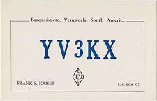 QSL VENEZUELA BARQUISIMETO RADIO AMATORI CARD 1966