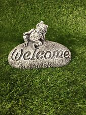 Frog Welcome Sign, Stone, Garden Ornament