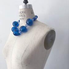 â• 60s Vintage Giant Blue Glass Necklace : avant garde earrings dress minimalist