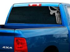 P487 Punisher Skull Rear Window Tint Graphic Decal Wrap Back Pickup Graphics
