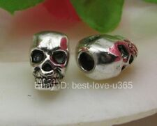 10pcs Tibetan Silver Horrific Skull Charms Spacer Beads 12X8MM BE810