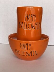 """Rae Dunn By Magenta """" HAPPY HALLOWEEN ! """" Scented Candle . A Set of Mug and Bowl"""