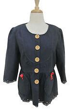 MANOUSH blue linen Abigail jacket FR 42 US 10 3/4 sleeves eyelet bow trim