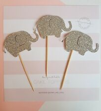 12x Baby Elephant Cupcake Toppers Silver Glitter, first birthday, baby shower