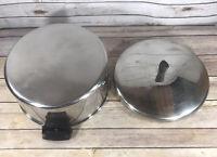 RARE Vintage Revere Ware 6 QT Stock Pot Aluminum Clad Stainless Steel W/ Lid EUC