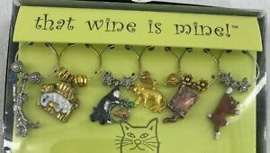 Wine Things Cats Wine Glass Charms Party Holiday Christmas Set of 6