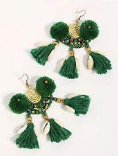 Free People X Serafina Hanging Earrings Green Tassel Pom Pom Bead Shell Hook NWT