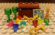 Lego NEW Pirate Brown Treasure Chest w/ 9 Gems/Jewels, Goblets, Keys, And Map