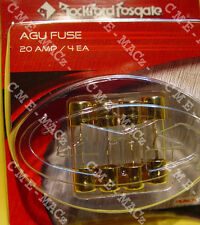 FUSES AGU GLASS 20 AMP GOLD PLATED ROCKFORD-FOSGATE RP7560 (PACK of 4) FREE SHIP