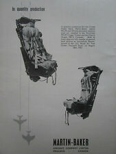 8/58 PUB MARTIN BAKER MK.A5 G5 EJECTION SEAT SIEGE EJECTABLE CRUSADER COUGAR AD