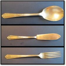 3 vtg  '37 Wm Rogers Cotillion sugar spoon, master butter knife, Malabar fork