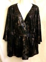 NEW WOMEN'S MULTIPLES BROWN WITH MULTICOLOR PRINT SURPLICE TOP PLUS SIZE 2X $79