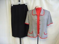 """Traje de las Señoras Chaqueta + top + falda gris/rojo/negro, cintura busto 42-44"""" 28"""" 1332"""