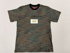 [PRE-OWNED] SUPREME BRIGHT STRIPE CLASSIC LOGO SS TOP SHIRT BOX LOGO BLACK LARGE