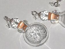 1pc Clear Round Glass essential oil perfume ashes Bottle cork pendant charm NEW*