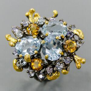Vintage Blue Topaz Ring Silver 925 Sterling  Size 6.5 /R169314
