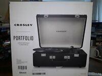 CROSLEY VINYL RECORD PLAYER PORTFOLIO with BLUETOOTH Black TURNTABLE NEW BOX DAM