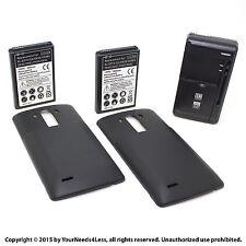 2 x 6800mAh Extended Battery for LG G3 D855 VS985 Black Cover Dock Charger