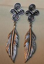 Handsome Swirl Tops Etched Feather Dangles Silvertone PIERCED Earrings