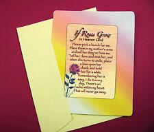 """""""If Roses Grow In Heaven"""" Poem -  Keepsake Enclosed Card - Sku# 604"""