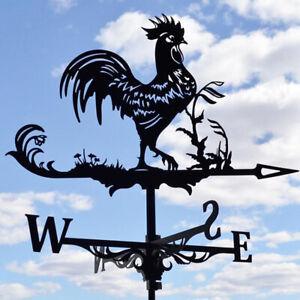 Rooster Weathervane Metal Garden Outdoor Mount Weather Wind Vane Gauge 3D Decor