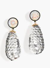 NWT J.Crew Authentic Crystal Sequin Drop Earrings & j Crew Box $78