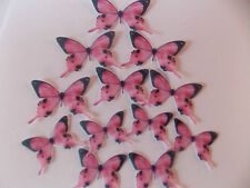 50 Precortada Comestibles Rosa (B) wafer/rice De Papel Mariposas cake/cupcake Toppers